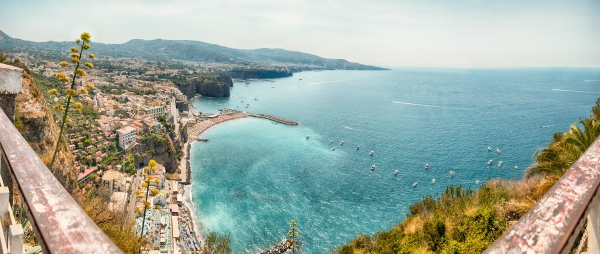 Panoramic aerial view of Sorrento, Italy, during summertime