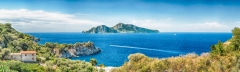 Panoramic aerial view with the Island of Capri, Italy