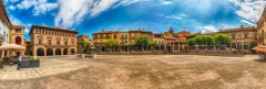 Panoramic view of Plaza Mayor, Poble Espanyol, Barcelona, Catalonia, Spain