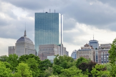 The Boston skyline seen from the Boston Public Garden, USA