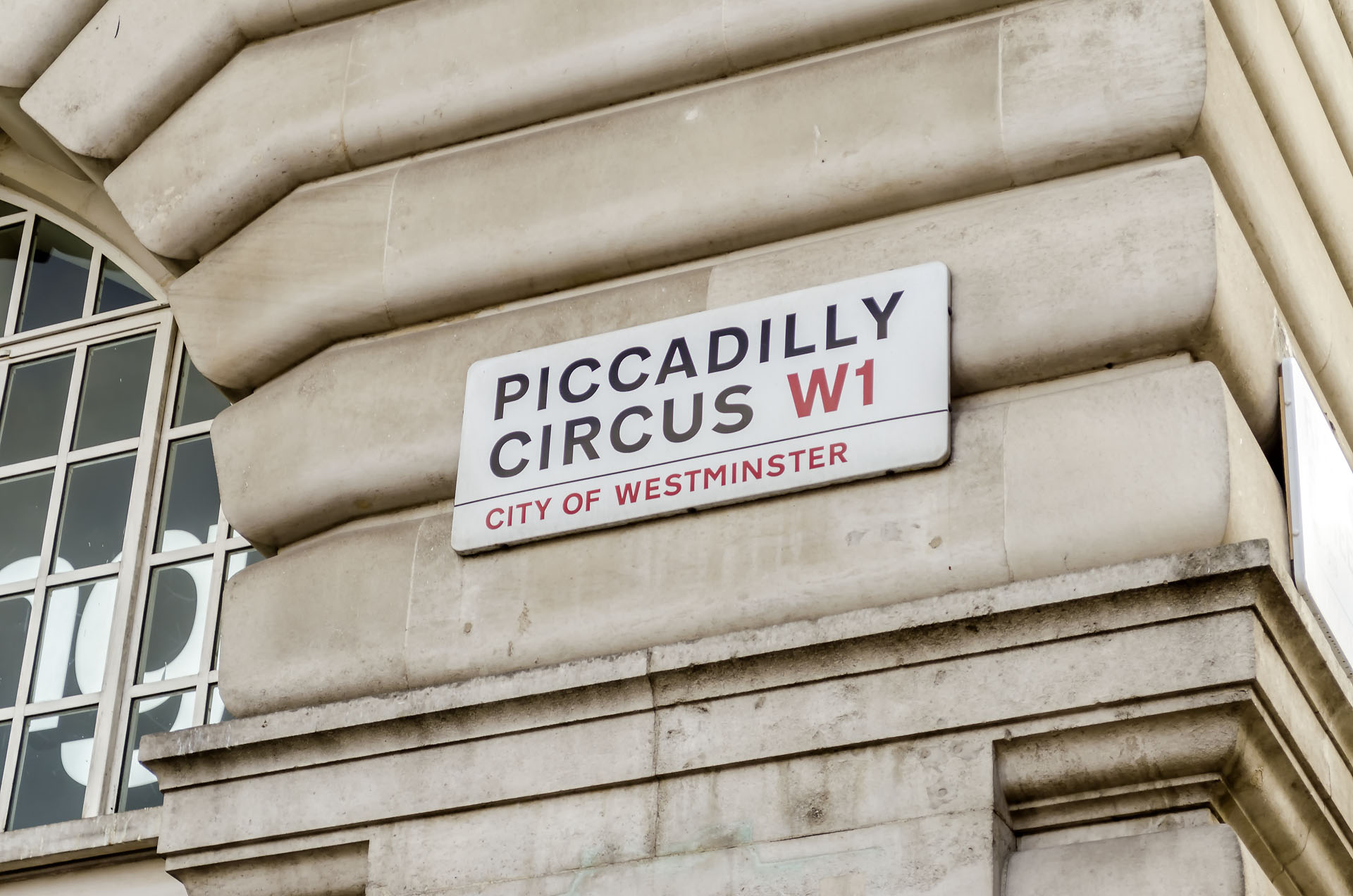 Piccadilly Circus street sign, London, UK