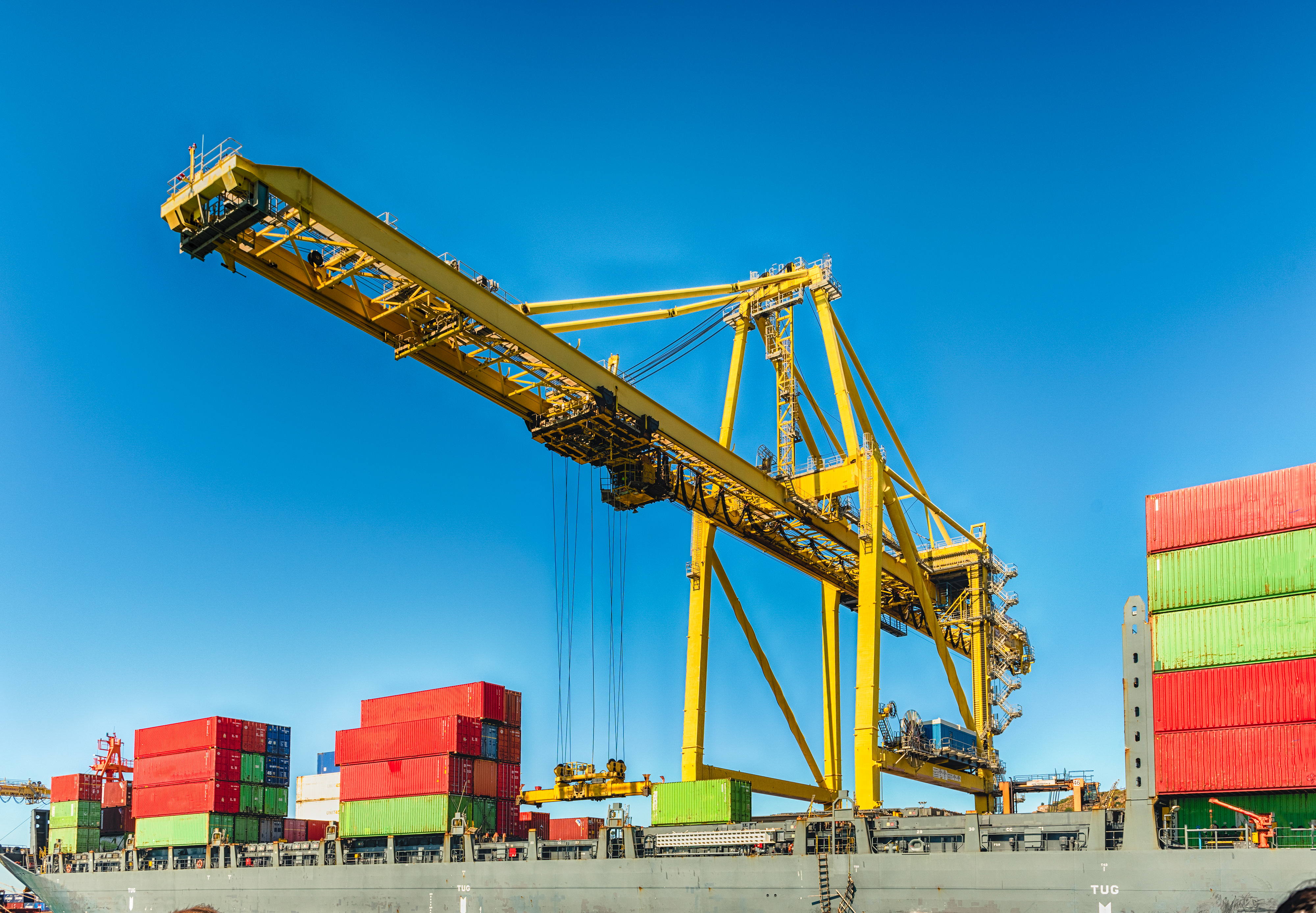 Container crane at the commercial port of Barcelona, Catalonia, Spain