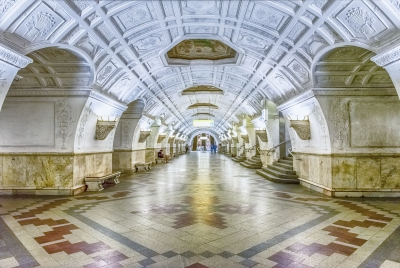 Interior of Belorusskaya subway station in Moscow, Russia