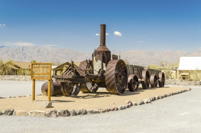 Steam tractor at Furnace Creek Ranch in Death Valley, USA