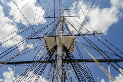 Ship mast of the USS Constitution frigate, Boston, USA