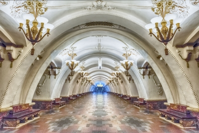 Interior of Arbatskaya subway station in Moscow, Russia