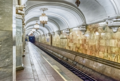 Interior of Komsomolskaya subway station in Moscow, Russia