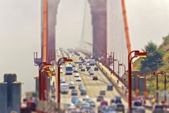 Traffic on the Golden Gate Bridge in San Francisco, USA