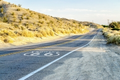 Historic Route 66 with pavement sign in California, USA