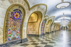 Interior of Novoslobodskaya subway station in Moscow, Russia