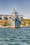 Black Sea Fleet warships in quay of Sevastopol bay, Crimea