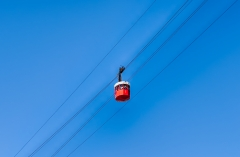 Red wagon of the cablecar in Barcelona, Catalonia, Spain
