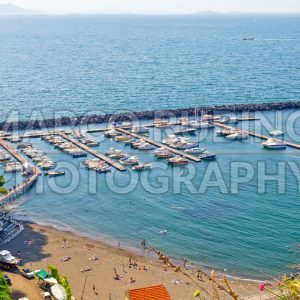 Aerial View of a Touristic Harbour in Sorrento, Italy