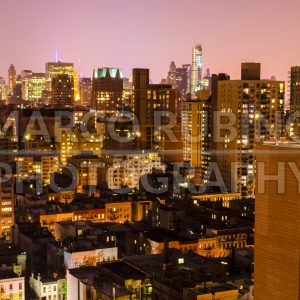 Aerial night view of Upper East Side, New York, USA