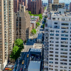 Aerial view of 2nd Avenue, New York City, USA