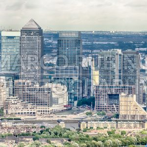 Aerial view of Canary Wharf district in London, UK