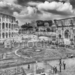 Aerial view of Colosseum and Arch of Constantine, Rome, Italy