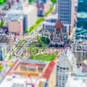 Aerial view of Copley Square in central Boston, USA