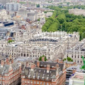 Aerial view of HM Revenue and Customs building, London, UK