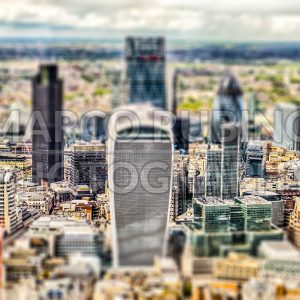 Aerial view of London City skyline, UK. Tilt-shift effect applied
