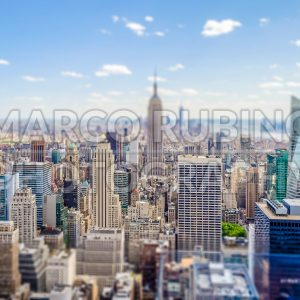 Aerial view of New York skyline, USA. Tilt-shift effect applied