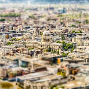 Aerial view of St. Paul Cathedral, London, UK