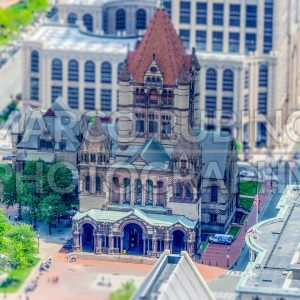 Aerial view of Trinity Church in central Boston, USA