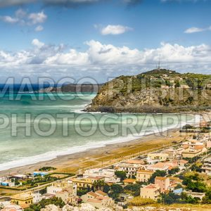 Aerial view of a mediterranean beach in Milazzo, Sicily, Italy