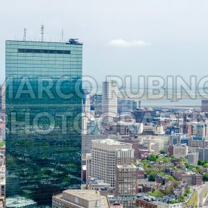 Aerial view of central Boston and John Hancock Tower, USA