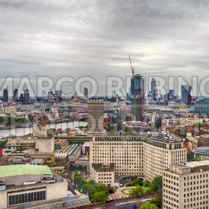 Aerial view of central London, UK