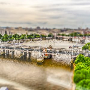 Aerial view of central London, UK. Tilt-shift effect applied