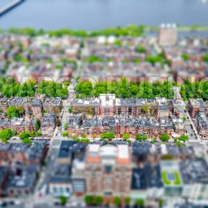 Aerial view of the Back Bay district, Boston, USA