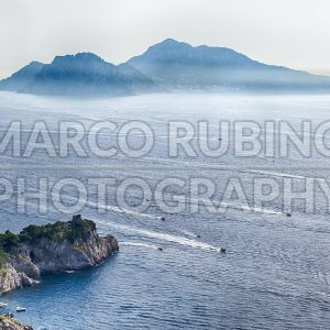 Aerial view of the Island of Capri, Italy