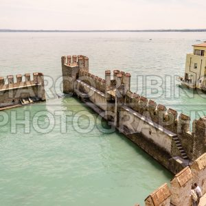 Aerial view of the Scaliger Castle, Sirmione, Italy