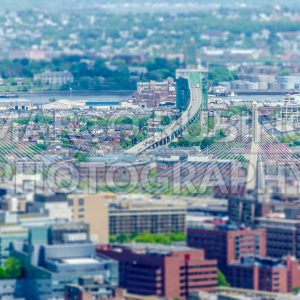 Aerial view of the Tobin bridge in central Boston, USA