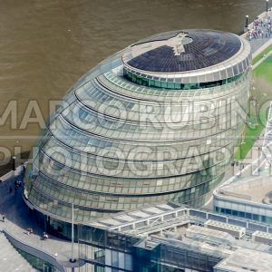 Aerial view of the iconic London City Hall, UK