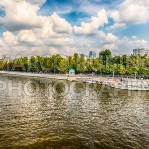 Aerial view over Gorky Park and Moskva River, Moscow, Russia