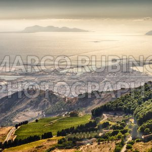 Aerial view over Trapani and Aegadian Islands, Sicily, Italy