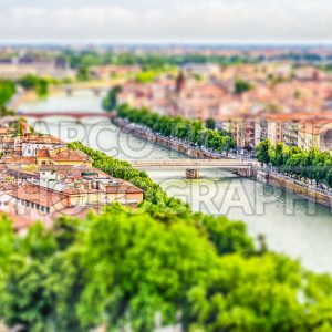 Aerial view over Verona, Italy. Tilt-shift effect applied