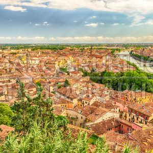 Aerial view over Verona and Adige River, Italy