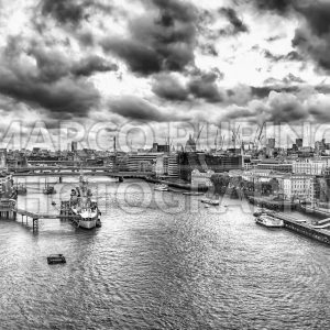 Aerial view over the Thames River, London, UK