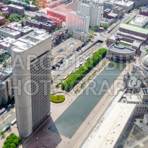 Aerial view with First Church of Christ Scientist, Boston, USA
