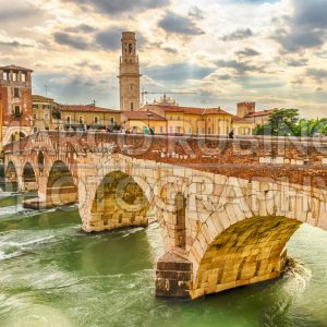 Ancient Roman Bridge called Ponte di Pietra in Verona, Italy