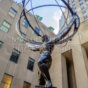 Atlas statue in front of Rockefeller Center, New York, USA