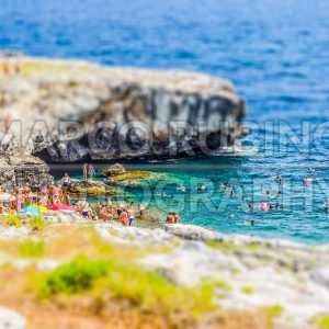 Beautiful seascape, Marina di Andrano, Apulia, Italy. Tilt-shift effect applied