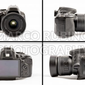 Black unbranded DSLR camera isolated on white background