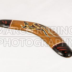 Brown wooden decorated australian boomerang