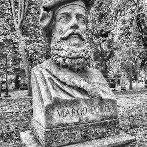 Bust statue of Marco Polo, Villa Borghese, Rome, Italy