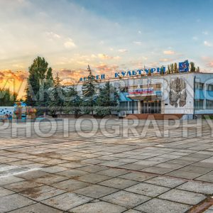 Central square and Culture Palace in village of Frunze, Crimea