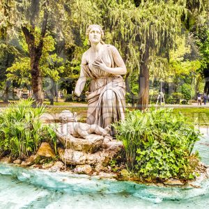 Classical fountain in Villa Borghese park, Rome, Italy